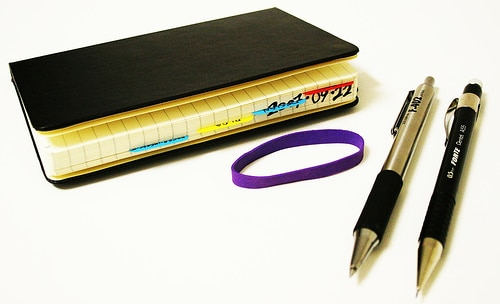 tabbed moleskine gtd hack pens rubber band supplies