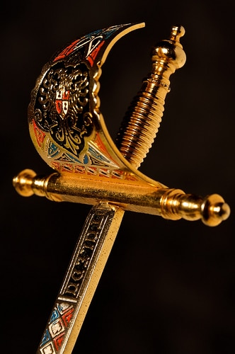 fancy collectible sword letter opener close up