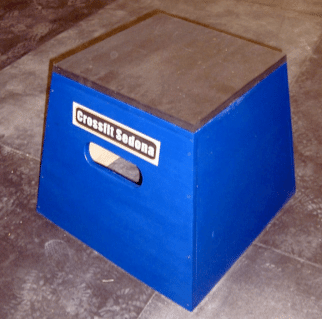 Plyometric box placed on floor for fitness.