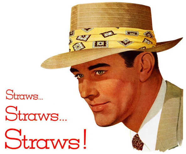 vintage straw derby hat ad advertisement