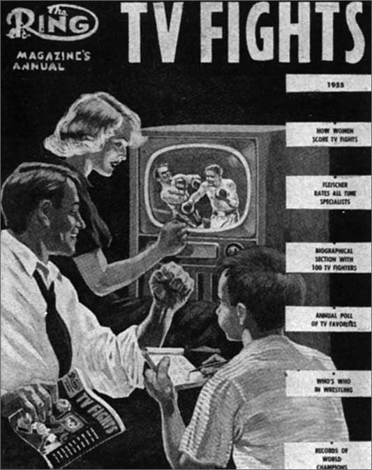 Vintage people watch boxing fight on tv.