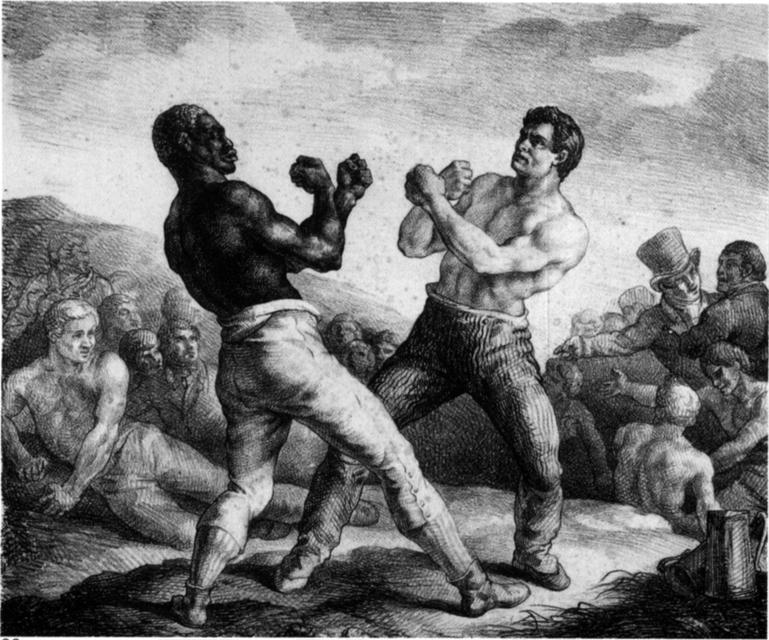Vintage boxers fighting illustration.