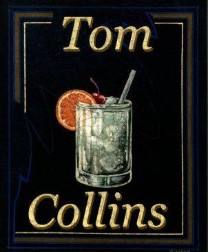 Vintage tom collins cocktail in glass.
