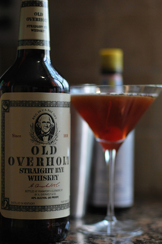 Manhattan cocktail served up with old overholt.