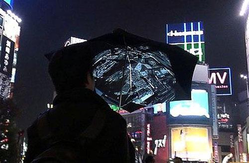 Wifi camera umbrella taking picture at night.