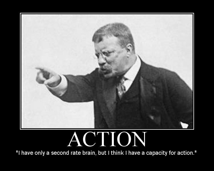 Motivational quote about Action by Theodore Roosevelt.