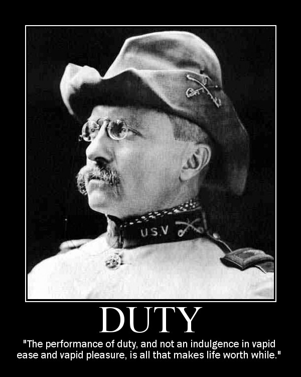Motivational quote about Duty by Theodore Roosevelt.