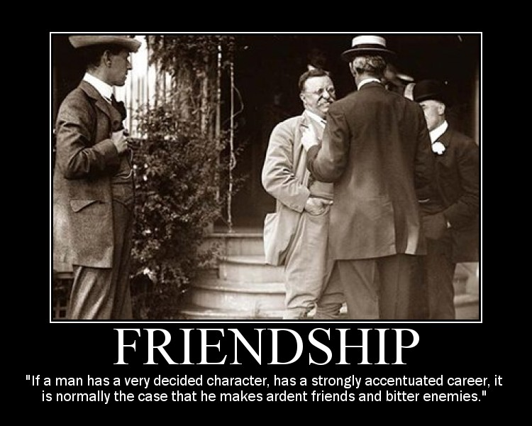Motivational quote about Friendship by Theodore Roosevelt.