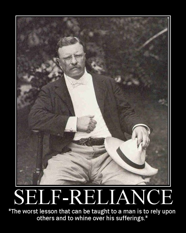 Motivational quote about Self-Reliance by Theodore Roosevelt.