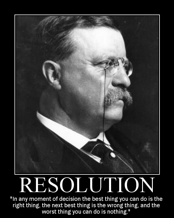 Motivational quote about Resolution by Theodore Roosevelt.
