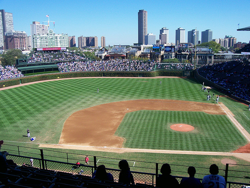 wrigley field baseball stadium from 3rd base seats