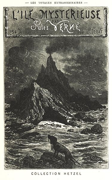 Book cover of The mysterious island by Jules Verne.
