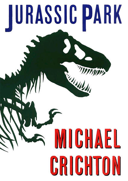 Book cover of Jurassic park by Michael Crichton.