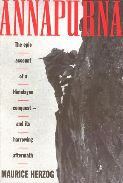 A man climbing on a mountain in book cover of Annapurna by Maurice Herzog.