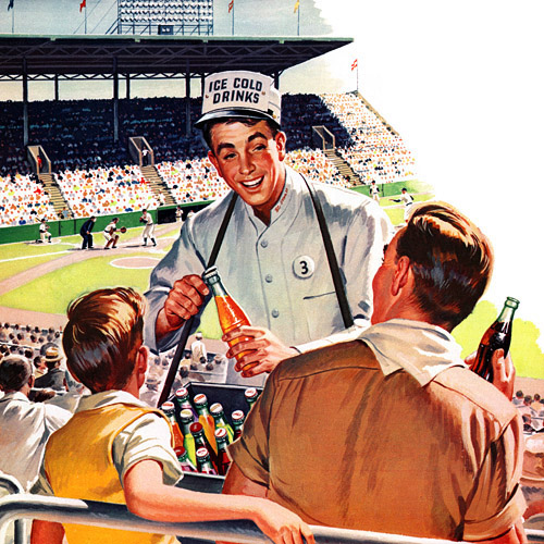 vintage father son baseball game 1950s illustration