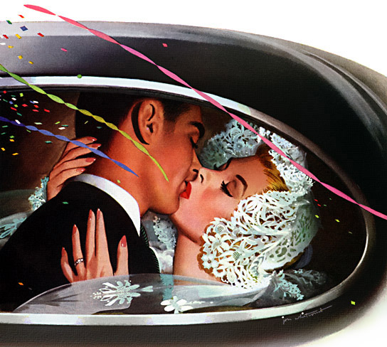 1950s wedding newlywed kiss in back of car