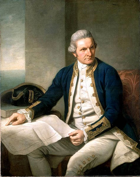 Illustration of a Captain James Cook holding a map.
