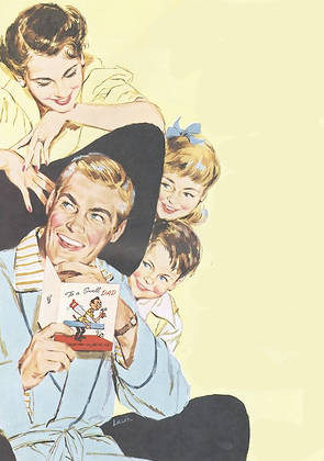 vintage fathers day illustration 1950s family with kids