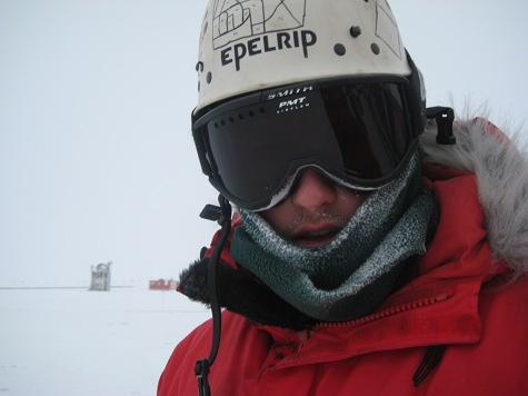 Steve Faulkner antarctic driller researcher in a winter snow.