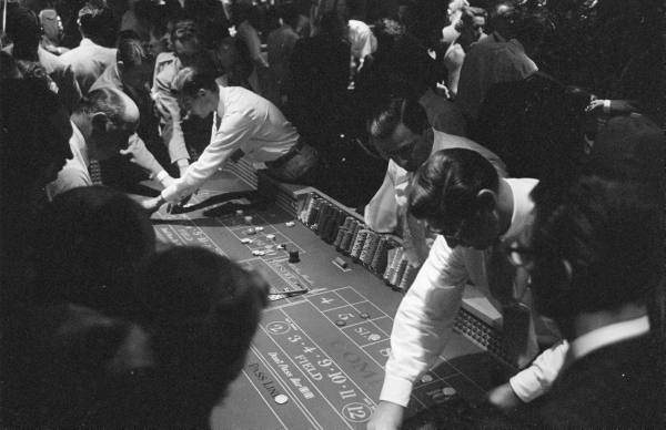 vintage craps table casino men gambling