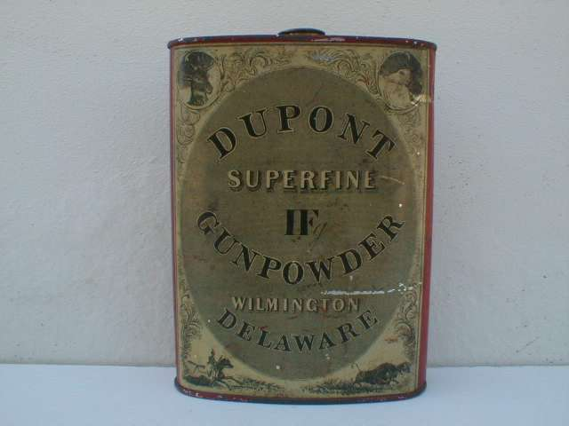 Dupont superfine gunpowder container.