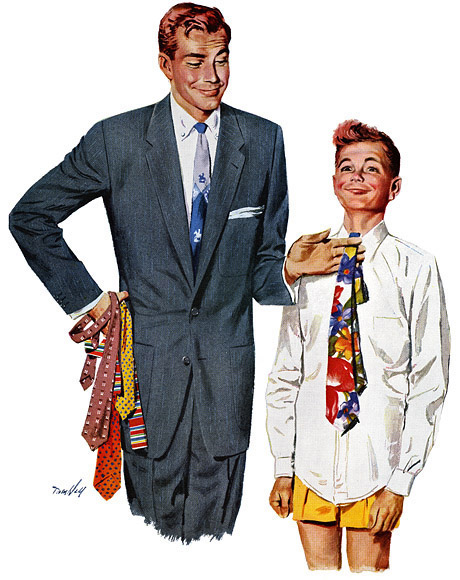 vintage illustration dad helping young son choose tie