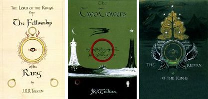 Book covers of The lord of the Rings Series by J. R. R. Tolkien.