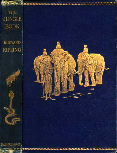Book cover of The Jungle Book by Rudyard Kipling.