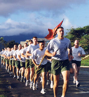 marines running in formation physical fitness test