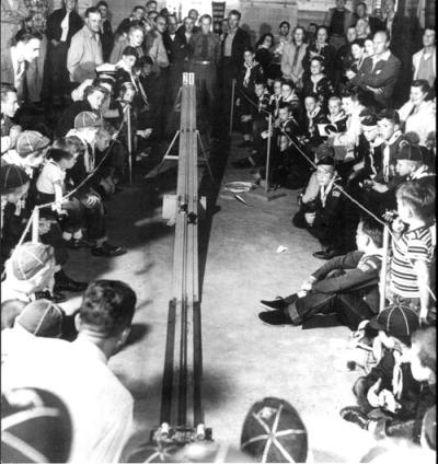 vintage pinewood derby race crowd of spectators