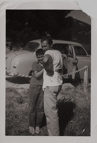 vintage father son in front of car 1940s