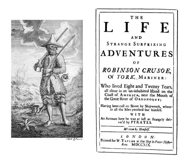 Book cover of Robinson Crusoe by Daniel Defoe.