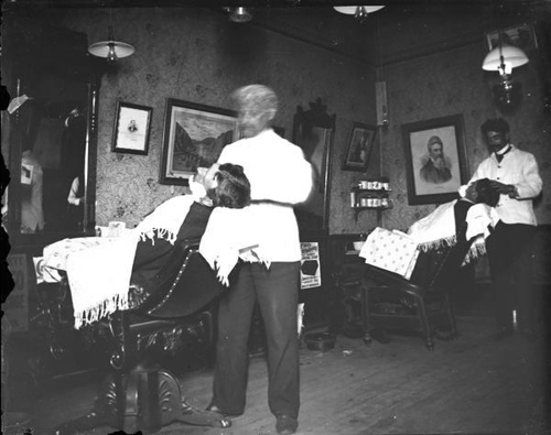 vintage barbershop men getting shave 1890s late 1800s
