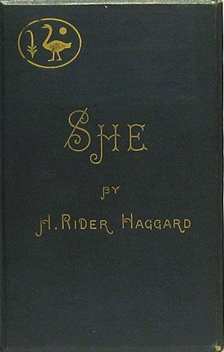 Book cover of She by H. Rider Haggard.