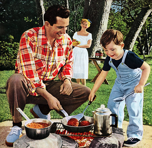 1950s vintage father son camping grilling illustration