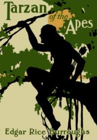 Book cover of Tarzan of the apes by Edgar Rice Burroughs.