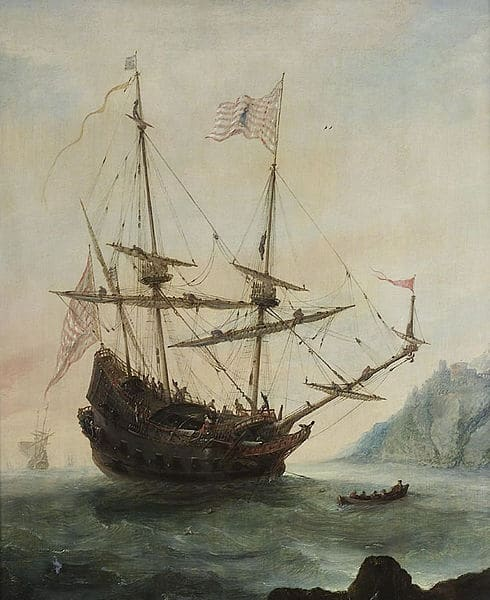 Ship of a Christopher Columbus in a sea.