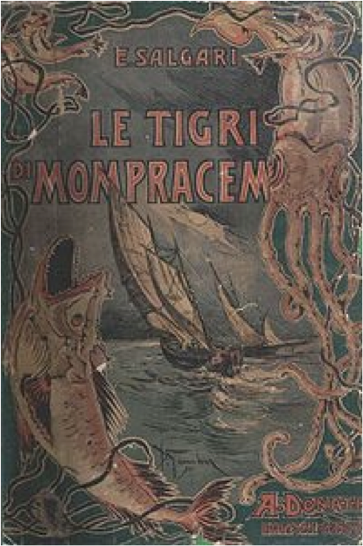 Book cover of The tigers of Mompracem by Emilio Salgari.