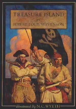 Book cover of Treasure island by Robert Louis Stevenson.