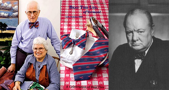 On the Left - Beau Ties LTD's founders Bill and Deb    On the Right - Sir Winston Churchill, one of history's most iconic bow tie wearers.