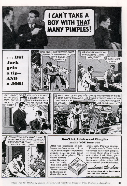 Yeast Acne Cure comic fleischmanns vintage ad advertisement