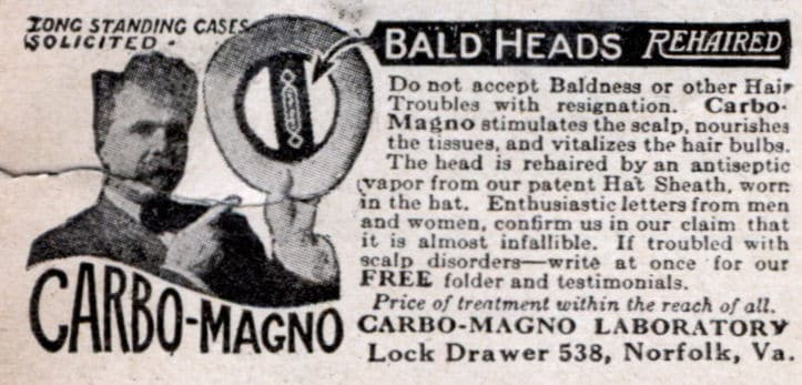 vintage baldness cure ad advertisement carbo magno