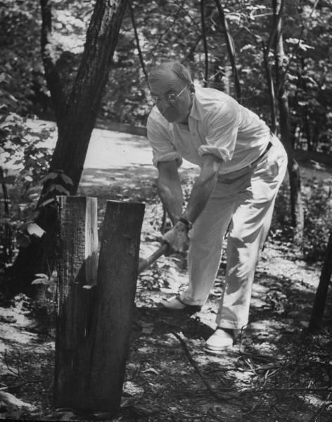 vintage splitting chopping wood man with maul
