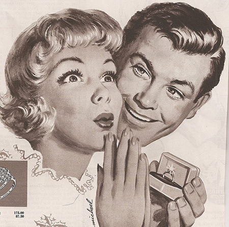 1950s vintage diamond engagement ring ad advertisement