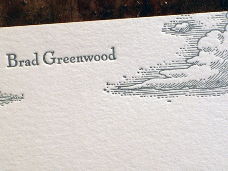 Letterpress printing on stationery for letter writing.