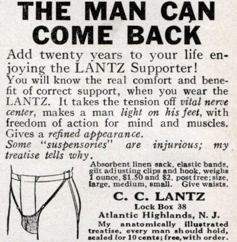 Vintage men's advertisement lantz supporter jock strap.