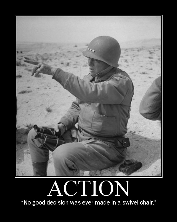 general patton action swivel chair quote motivational poster