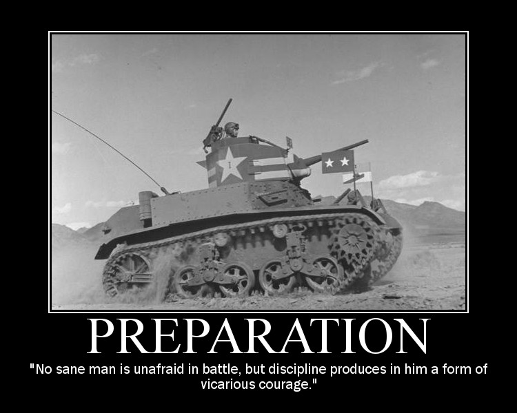 Motivational quote about Preparation by General Patton.