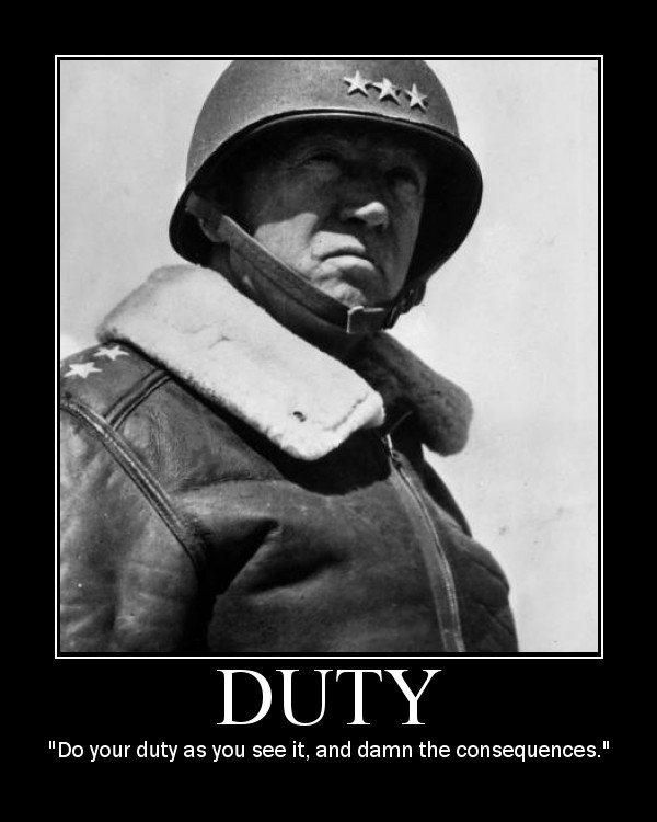 Motivational quote about Duty by General Patton.