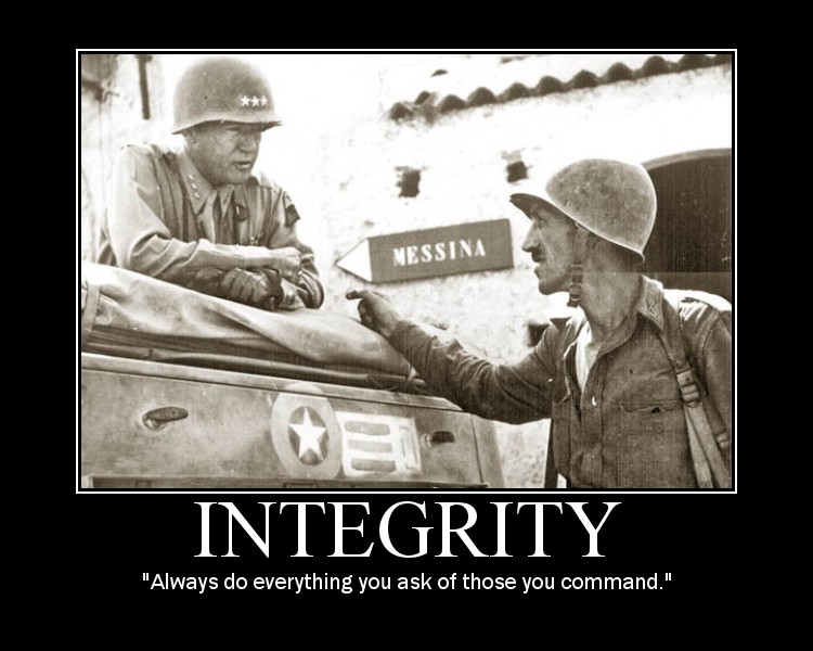 Motivational quote about Integrity by General Patton.